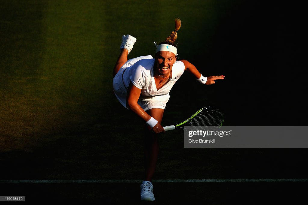 Svetlana Kuznetsova of Russia in action during her Women's Singles Second Round match against Karolina Pliskova of Czech Republic during day four of the Wimbledon Lawn Tennis Championships at the All England Lawn Tennis and Croquet Club on July 2, 2015 in London, England.