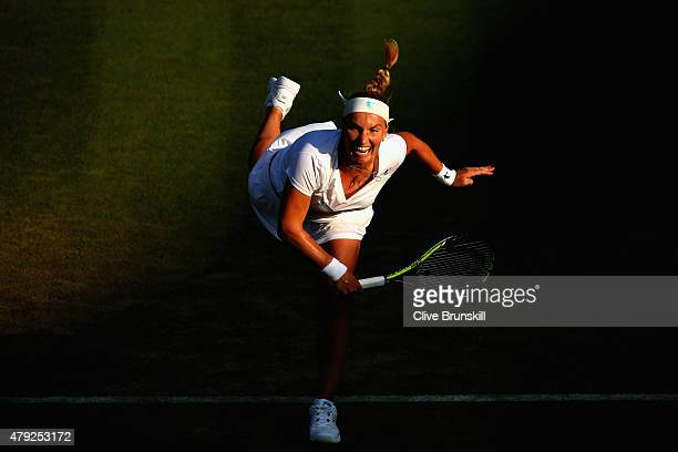 Svetlana Kuznetsova of Russia in action during her Women's Singles Second Round match against Karolina Pliskova of Czech Republic during day four of...