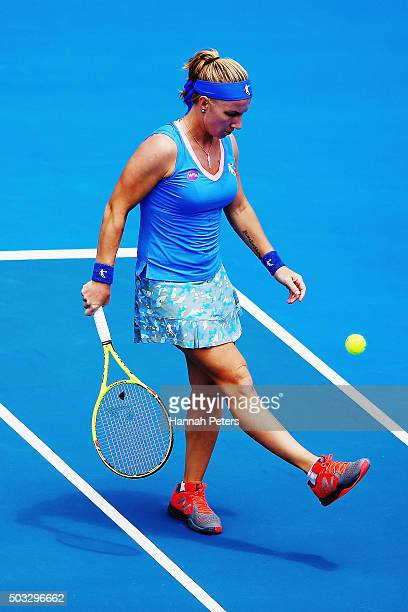 Svetlana Kuznetsova of Russia kicks the ball away during her first round match against Mona Barthel of Germany during day one of the 2016 ASB Classic...