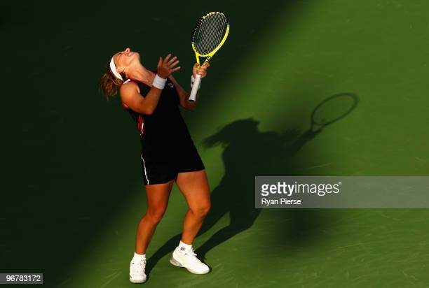 Svetlana Kuznetsova of Russia looks dejected after missing a shot during her third round match against Regina Kulikova of Russia during day four of...