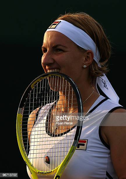 Svetlana Kuznetsova of Russia looks on during her first round doubles match with Victoria Azarenka of Belarus against Ipek Senoglu of Turkey and...