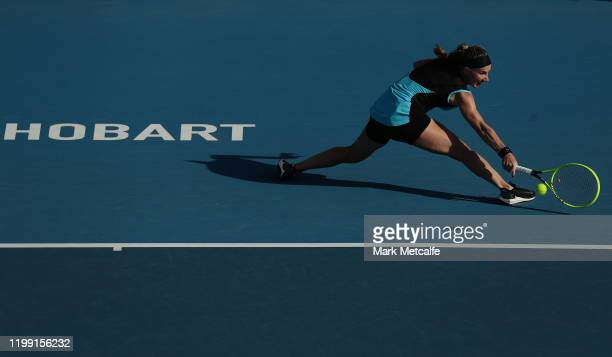 Svetlana Kuznetsova of Russia plays a backhand during her first round singles match against Magda Linette of Poland during day three of the 2020...