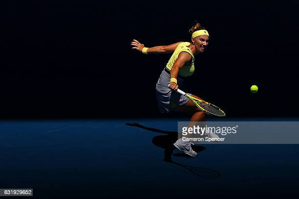 Svetlana Kuznetsova of Russia plays a backhand plays in her second round match against Jaimee Fourlis of Australia on day three of the 2017...