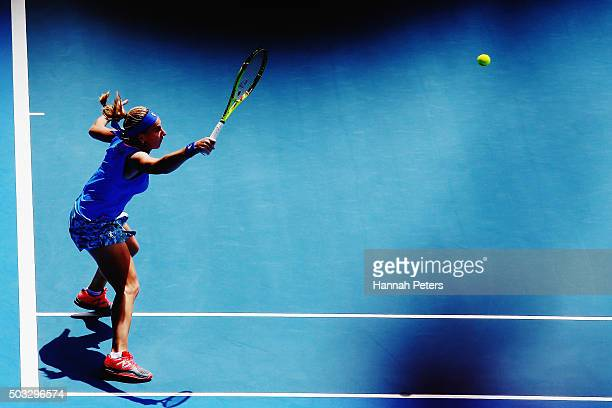 Svetlana Kuznetsova of Russia plays a forehand during her first round match against Mona Barthel of Germany during day one of the 2016 ASB Classic at...