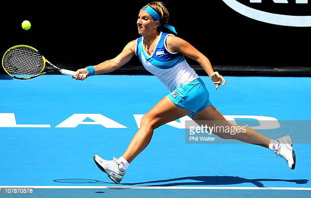Svetlana Kuznetsova of Russia plays a forehand during her match against Shuai Peng of China during day three of the ASB Classic at the ASB Tennis...