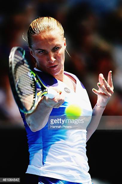 Svetlana Kuznetsova of Russia plays a forehand during her match against Lucie Hradecka of Czech Republic on day two of the 2015 ASB Classic at ASB...