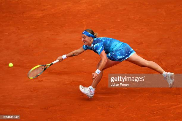 Svetlana Kuznetsova of Russia plays a forehand during her Women's Singles match against Angelique Kerber of Germany on day eight of the French Open...