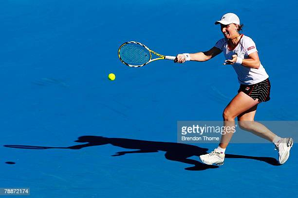 Svetlana Kuznetsova of Russia plays a forehand in her match against Nicole Vaidisova of Czech Republic during day five of the Medibank International...