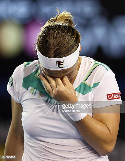 Svetlana Kuznetsova of Russia reacts after a point in her quarterfinal match against Serena Williams of the United States of America during day ten...