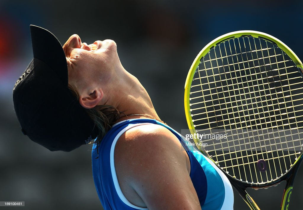 Svetlana Kuznetsova of Russia reacts after a point in her second round match against Caroline Wozniacki of Denmark during day three of Sydney International at Sydney Olympic Park Tennis Centre on January 8, 2013 in Sydney, Australia.