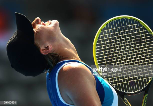 Svetlana Kuznetsova of Russia reacts after a point in her second round match against Caroline Wozniacki of Denmark during day three of Sydney...
