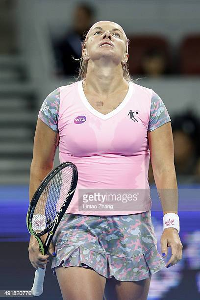 Svetlana Kuznetsova of Russia reacts after losing the point against Ana Ivanovic of Serbia during the Women's singles Second round match on day six...
