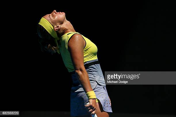 Svetlana Kuznetsova of Russia reacts in her fourth round match against Anastasia Pavlyuchenkova of Russia on day seven of the 2017 Australian Open at...