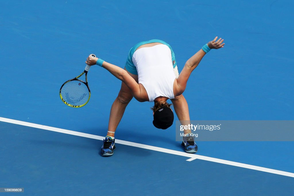 Svetlana Kuznetsova of Russia reacts in her second round match against Caroline Wozniacki of Denmark during day three of Sydney International at Sydney Olympic Park Tennis Centre on January 8, 2013 in Sydney, Australia.
