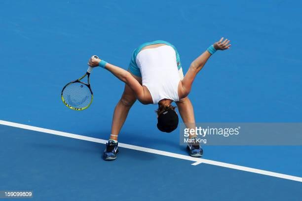 Svetlana Kuznetsova of Russia reacts in her second round match against Caroline Wozniacki of Denmark during day three of Sydney International at...