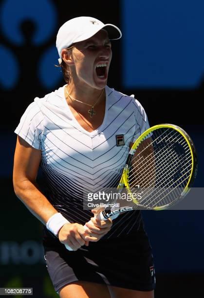 Svetlana Kuznetsova of Russia reacts in her third round match against Justine Henin of Belgium during day five of the 2011 Australian Open at...