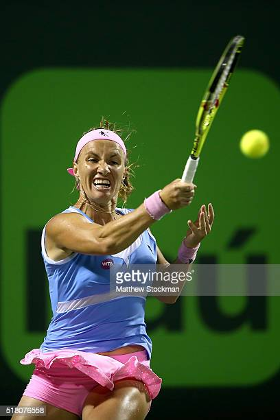 Svetlana Kuznetsova of Russia returns a shot to Ekatarina Makarova of Russia during the Miami Open presented by Itau at Crandon Park Tennis Center on...