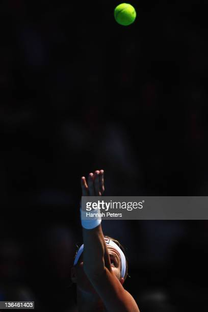 Svetlana Kuznetsova of Russia serves during her match against Jie Zheng of China during day five of the 2012 ASB Classic ASB Tennis Centre on January...