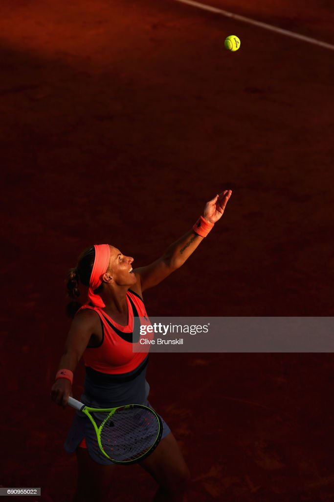 Svetlana Kuznetsova of Russia serves during the ladies singles second round match against Oceane Dodin of France on day four of the 2017 French Open at Roland Garros on May 31, 2017 in Paris, France.