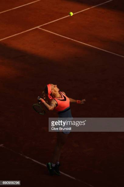 Svetlana Kuznetsova of Russia serves during the ladies singles second round match against Oceane Dodin of France on day four of the 2017 French Open...