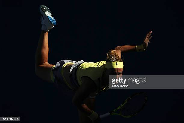 Svetlana Kuznetsova of Russia serves in her first round match against Mariana DuqueMarino of Colombia on day one of the 2017 Australian Open at...