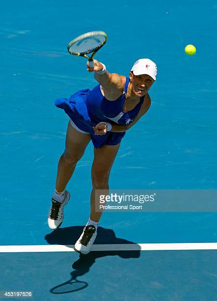 Svetlana Kuznetsova of Russia serves in her fourth round match against Caroline Wozniacki of Denmark during day eight of the 2013 Australian Open at...