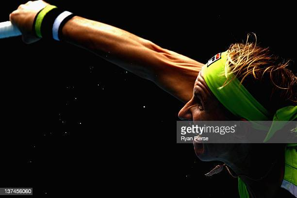 Svetlana Kuznetsova of Russia serves in her third round match against Sabine Lisicki of Germany during day six of the 2012 Australian Open at...