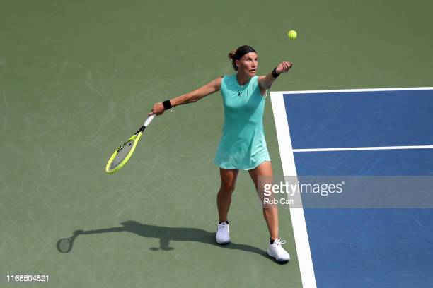 Svetlana Kuznetsova of Russia serves to Madison Keys of the United States during the Women's Final of the Western and Southern Open at Lindner Family...