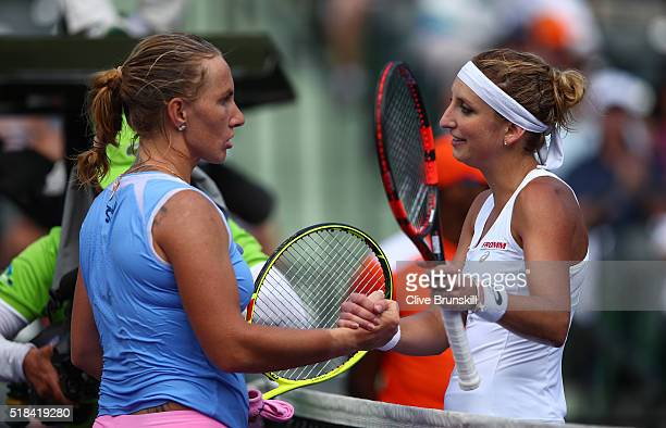 Svetlana Kuznetsova of Russia shakes hands at the net after her straight sets victory against Timea Bacsinszky of Switzerland during their semi final...