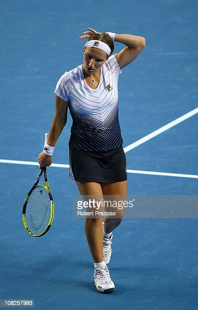 Svetlana Kuznetsova of Russia shows emotion after losing her fourth round match against Francesca Schiavone of Italy after a record 4 hours and 44...