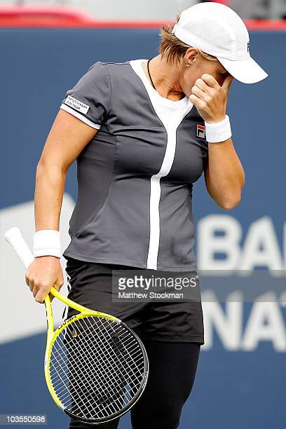 Svetlana Kuznetsova of Russia wipes her eyes between points against Caroline Wozniacki of Denmark during the semifinals of the Rogers Cup at Stade...