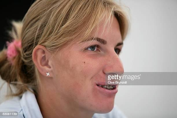 Svetlana Kuznetsova of Russsia speaks to the media during the Hastings Direct International Tennis Championships at Devonshire Park June 13 2005 in...
