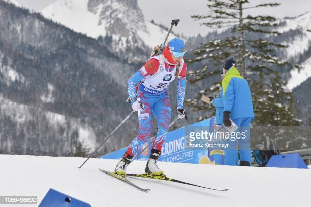 Svetlana Mironova of Russia competes for the women's 12.5 km mass start during the IBU World Cup Biathlon at Chiemgau Arena on January 20, 2019 in...