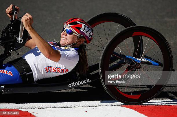 Svetlana Moshkovich of Russia rides during the Women's Individual H 13 Road Race on day 9 of the London 2012 Paralympic Games at Brands Hatch on...