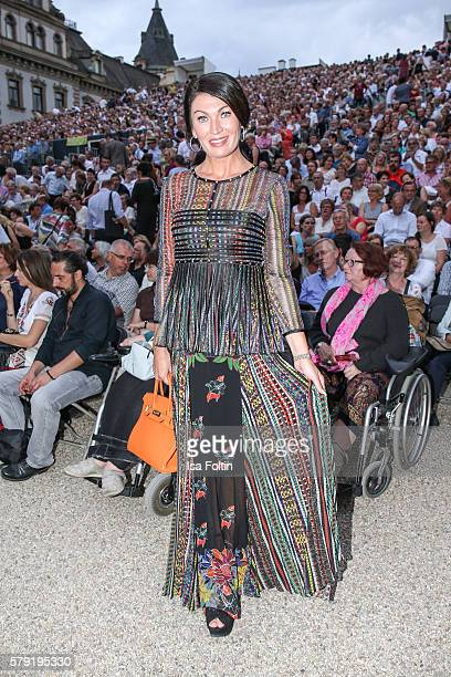 Svetlana Panfilow partner fo the presenter Reinhard Soell attends the Joan Baez Concert during the Thurn Taxis Castle Festival 2016 on July 22 2016...
