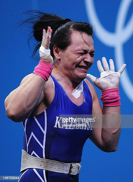 Svetlana Podobedova of Kazakhstan celebrates winning Gold during the Women's 75kg Weightlifting Final on Day 7 of the London 2012 Olympic Games at...
