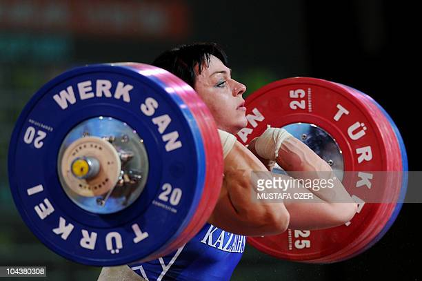 Svetlana Podobedova of Kazakhstan compates in the women's 75kg weightlifting competition at the World Weightlifting Championships in Antalya on...