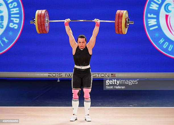 Svetlana Podobedova of Kazakhstan competes in the women's 75kg weight class during the 2015 International Weightlifting Federation World...