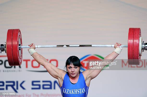 Svetlana Podobedova of Kazhakistan competes in the women's 75kg weightlifting competition at the World Weightlifting Championships in Antalya on...