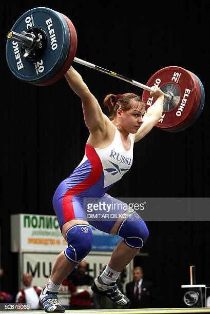 Svetlana Podobedova of Russia competes in the women's 75 kilo during the European Weightlifting Championship in Sofia 21 April 2005 AFP PHOTO /...