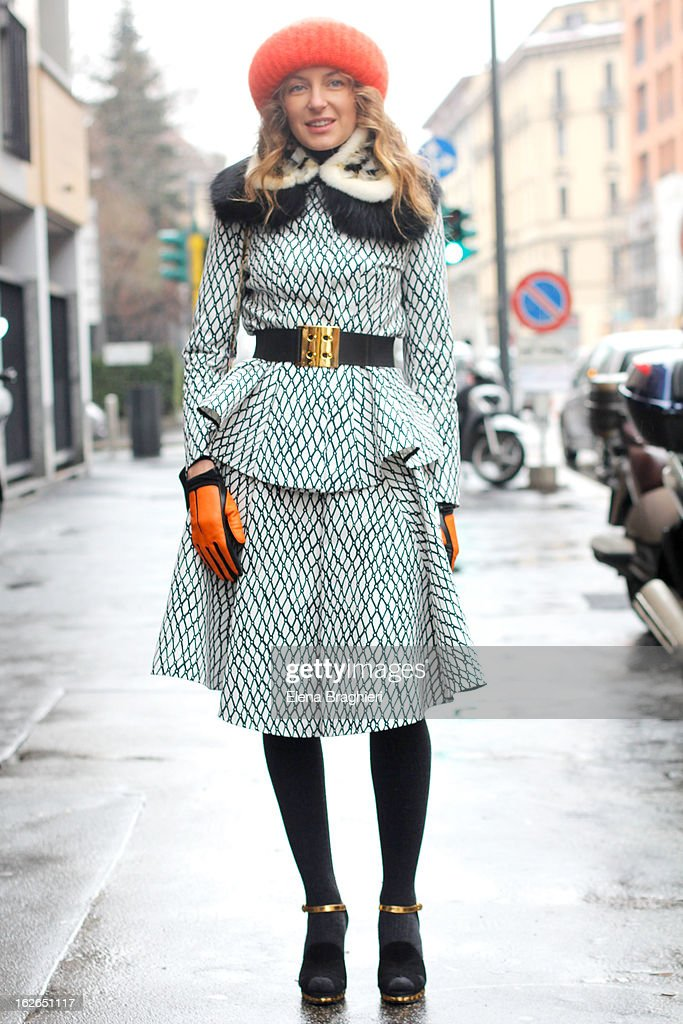 Svetlana Taccori wearing a Marni total look and Takori beanie attends the Milan Fashion Week Womenswear Fall/Winter 2013/14 on February 25, 2013 in Milan, Italy.