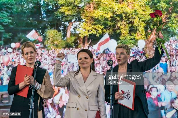Svetlana Tikhanovskaya, center, presidential candidate in Belarus elections 2020, in a rally in Minsk. On the left, Valeria Sepkalo, and on the...