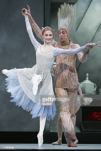 Svetlana Zakharova as Cinderella and Alexei Loparevich as Broom of the Moscow Bolshoi Theatre Cinderella Ballet perform at the Royal Opera House in...