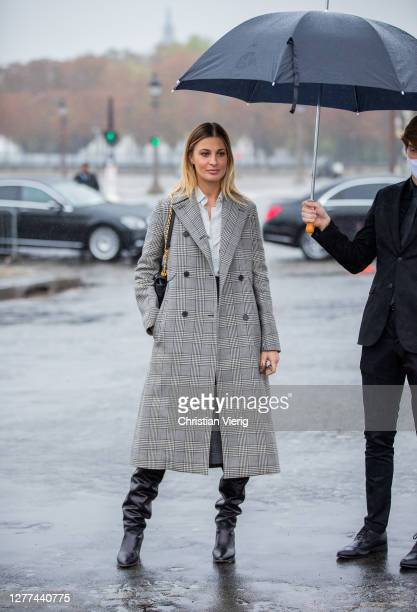 Sveva Alviti is seen outside Dior during Paris Fashion Week - Womenswear Spring Summer 2021 : Day Two on September 29, 2020 in Paris, France.