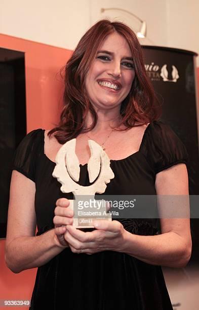 Sveva Sagramola shows her award during the '2009 Margutta Awards' at Margutta RistoArte on November 24 2009 in Rome Italy