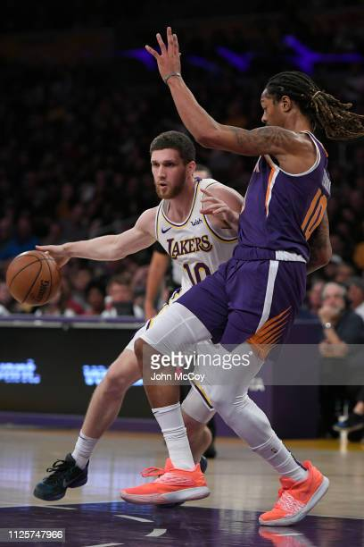 Sviatoslav Mykhailiuk of the Los Angeles Lakers against Emanuel Terry of the Phoenix Suns at Staples Center on January 27 2019 in Los Angeles...