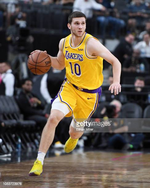 1e77ac4b4a59 Sviatoslav Mykhailiuk of the Los Angeles Lakers sets up a play against the  Golden State Warriors