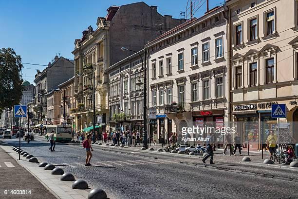 svobody avenue in lviv,ukraine - lugar histórico imagens e fotografias de stock
