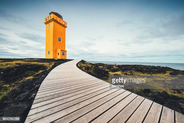 svortuloft lighthouse in iceland - wonderlust stock photos and pictures