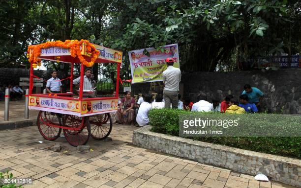 Swabhimaan Sanghathana President Nitesh Rane inaugurated Chhatrapati Vada Pav outlet at Powai outside the Nisarga Udyan on Friday
